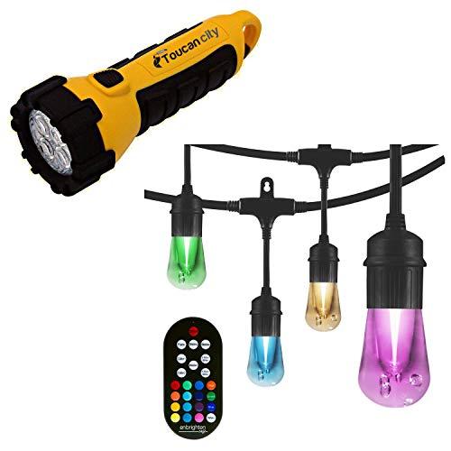Toucan City LED Flashlight and Enbrighten 24-bulb 48 ft. Vintage Seasons Color Changing Cafe Integrated LED String Lights, Black 37790