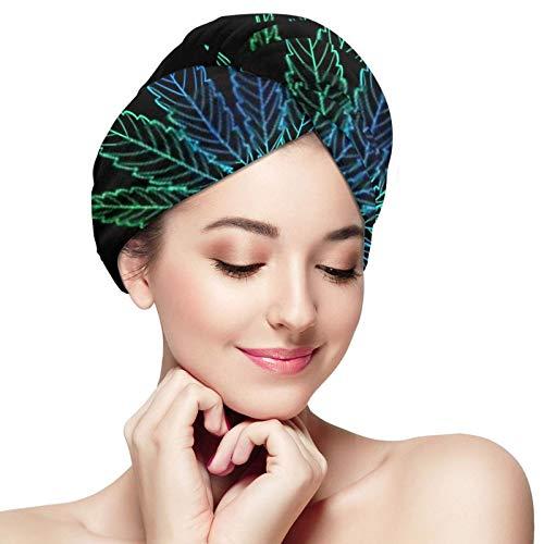 ZVEZVI Toalla de Pelo de cáñamo de Hoja Verde Azul de Contorno de Marihuana, Turbante de Microfibra para Secado, Toalla de Ducha de baño con Botones, Gorro de Pelo seco, Gorro de baño Envuelto