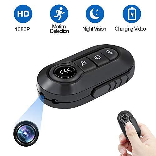 Caméra Cachée LXMIMI Caméra Espion Porte-clés de Voiture 1080P HD Mini Caméra Multifonctionnel DVR avec Longe/ Vision Nocturne IR/ Détection de Mouvement/ Mode Audio pour Intérieur et en Plein Air