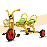 WLWWY Triciclo para Niños, Asa De Bicicleta Trike Asientos Gemelos para Bebés, Niños Pequeños, Automóviles De Juguete, Gemelos, Automóviles Al Aire Libre,Yellow