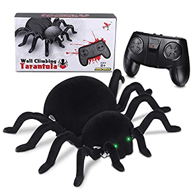 MECO Spider Scary Toy Wall Driving Climber Remote Control Realistic RC Prank Halloween Christmas Children (Black)