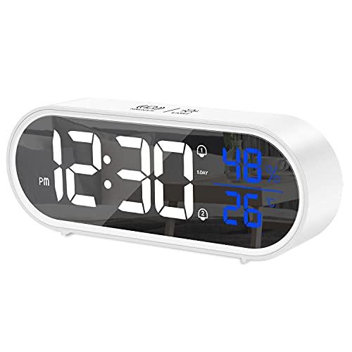 BOKQTTN Reloj Despertador Digital, Despertador Inteligente con Pantalla LED de Temperatura y Humedad, Alarma de Espejo Portátil con Snooze, 4 Volumen Ajustable, 40 Música Despertadores Digitales