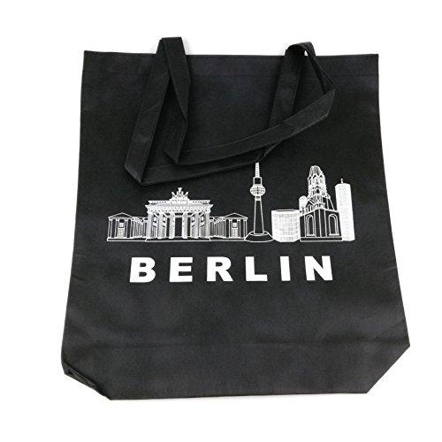 Starlet24 Berlin Jutebeutel Hipster Tasche Shopper Stofftasche Einkaufstasche Freizeittasche Beutel Souvenir Andenken Einkaufsbeutel #100927 Schwarz