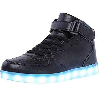 WONZOM High Top LED Light Up Shoes USB Charging Sneakers for Men Women-46(Black)