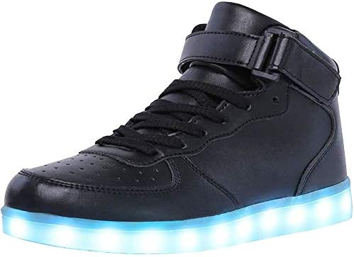 WONZOM High Top LED Light Up Shoes USB Charging Sneakers for Men Women 39 Black product image