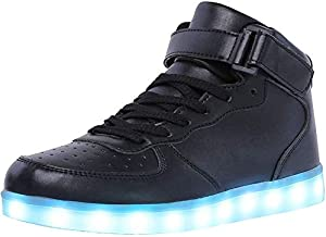 WONZOM High Top LED Light Up Shoes USB Charging Sneakers for Men Women-39(Black)