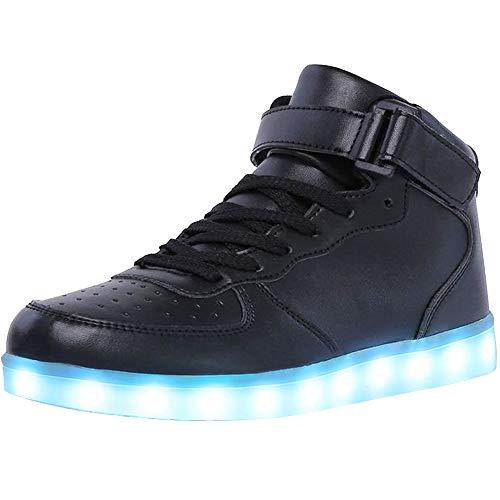 WONZOM Unisex High Top LED Light Up Schuhe USB Charging Turnschuhe-46(Schwarz)