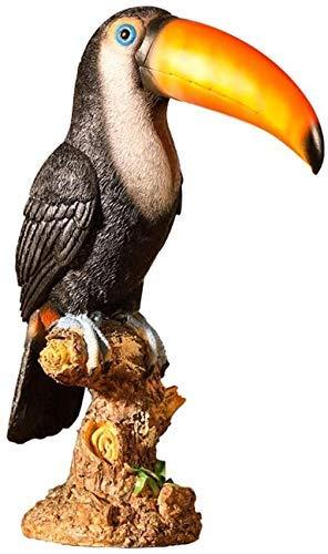 CTRGSM Estatuas de jardín y esculturas al Aire Libre tucán Estatua pájaro Animal Modelo simulación pequeño pájaro Resina Pintura jardín Home colección y decoración leilims