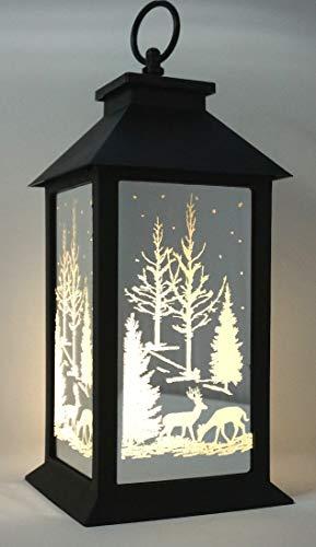 CBK-MS Laterne Winterwald für innen + außen mit Timer + LED Beleuchtung - Batteriebetrieb