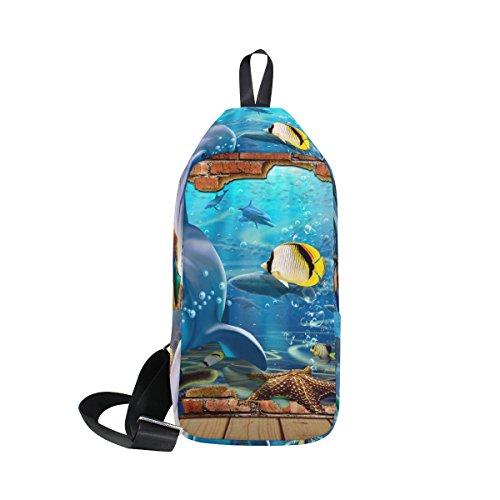 COOSUN Delphin Meer Tiere Sling Bag Schulter Brust Kreuz Körper Rucksack Leicht Casual Tagesrucksack für Männer Frauen