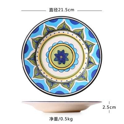 AFMGDHot Exotic handbemalte marokkanische Italien böhmischen Stil Teller 8,5 Zoll Bunte Salatteller Dining Decoration Plate 8,5 Zoll 6