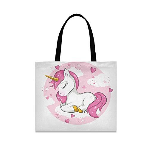 RURUTONG Lindo unicornio bebé lona bolsa para mujeres niñas corazón rosa niño niña niños bien hecho multiusos reutilizable comestibles playa compras bolso 2010029