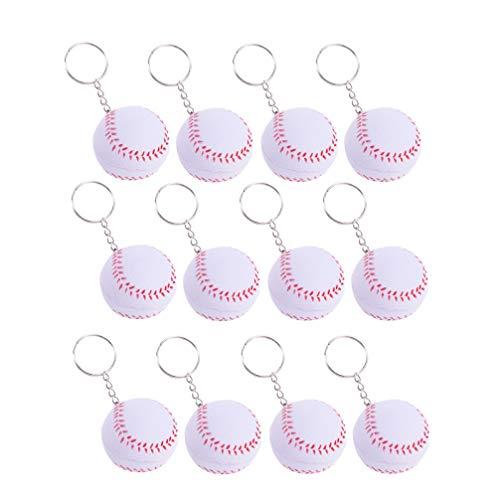 NUOBESTY 12Pcs Baseball Keychain Autoschlüsselring Trägt Ball Keychain Dekorationen für Baseballgeburtstagsfeierbeutel-Geschenkfüller Zur Schau