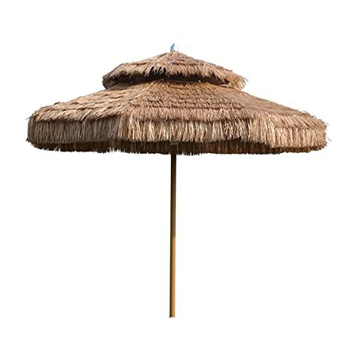 SuoANI Sombrilla De Playa De Paja De 8.2 Pies, Sombrilla De Patio De Estilo Hawaiano con Protección UV, Sombrilla Impermeable para Jardín, Piscina, Patio