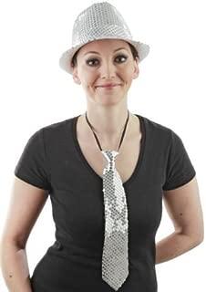 Foxxeo Silber Pailletten Krawatte für Damen und Herren zu Fasching Karneval Motto Party Paillettenkrawatte