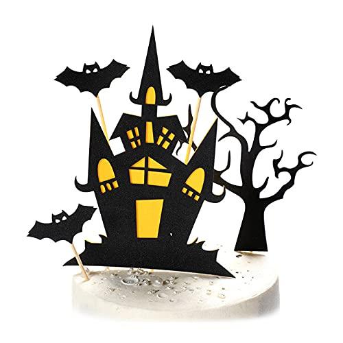 3-częściowy zestaw Dekoracja babeczek na Halloween,Topper tort na Halloween z bat,czarownicy,dyniowej Ozdoba na tort Halloween
