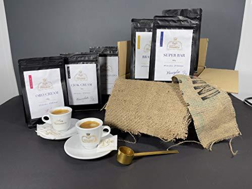 Kaffee Geschenkset Ganze Kaffeebohnen - Probierset Kaffee Geschenk 6x 100g Original Italienische Kaffee Sorten + 2 dickwandige Espresso Tassen GRATIS - Säurearme langsam geröstetes Kaffee Probierset
