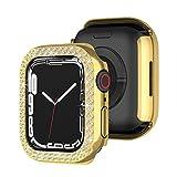 Brillantini Custodia Compatibile con Apple Watch Series 7 41mm 45mm, Donne Ricambio Bling Diamante Cover, Protezione Antiurto Bumper Case Rigida,Hard Custodia Protettiva,Oro,41mm