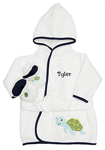 Personalized Monogrammed Sea Turtle Terry Hooded Bath Robe & Slipper Set Sz 0-9 Mo