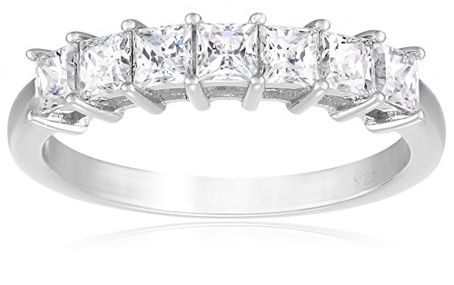 Amazon Collection Platinum-Plated Sterling Silver Swarovski Zirconia 1 cttw Princess Ring, Size 9