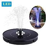 Immuson Solar Fountain Pump with LED Lights, 2.4W Free Standing Bird Bath Fountain