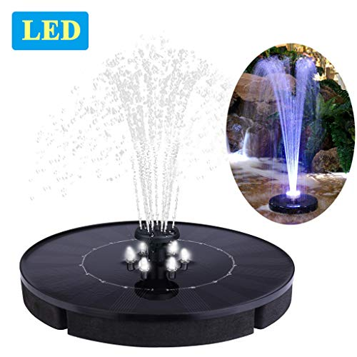 "Immuson Solar Fountain Pump with LED Lights, 2.4W Free Standing Bird Bath Fountain Water Pump, Outdoor Floating Fountain Pump Kit for Garden, Pool, Pond, Patio Ideal Decoration, 7"" Diameter"