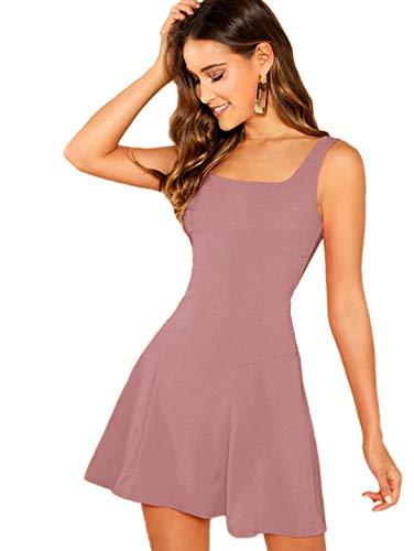 DIDK Damen Ärmellos Kleider T-Shirt Minikleider Einfarbig A Linie Sommerkleid Elegant Casual Freizeitkleid Strandkleid Ballonkleid Pink#3 L