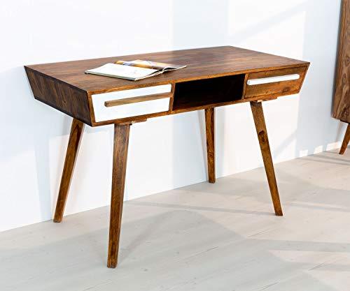 AISER Royal Massiver Echt-Holz Palisander Konsolentisch -Firenze- 118 x 60 cm aus besonders schön gezeichnetem Sheesham-Holz mit 2 Schubladen in modernem zeitlosen Design