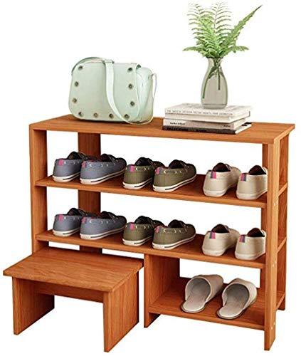 YLCJ rek massief MDF met voetensteun/planken voor schoenen, klassieke stijl, plat, vrijstaand (maat: 3 lagen) 3 layers