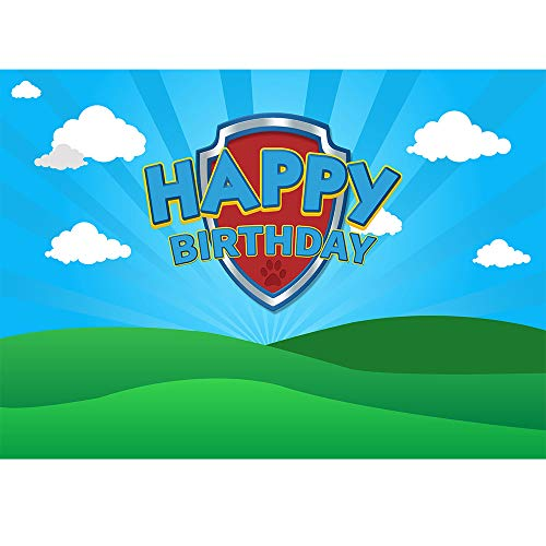 Allenjoy 7x5ft Blue Sky Puppy Dog Backdrop Boys Girls Happy 1st First Birthday Party Background for Photography Cartoon Pet Dog Party Banner Cake Table Decorations Photo Booth Props