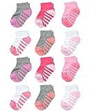 Reebok Infant & Toddler Girl's Comfort Cushion Quarter Cut Socks (12 Pack), Size 2-4T, Assorted Pink