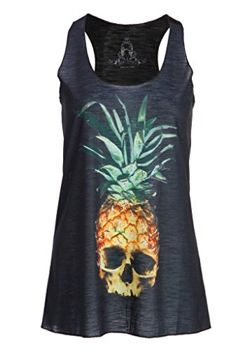 Schwarzes Ananas Totenkopf Skull Damen T-Shirt Top mit Racerback – Gr. L