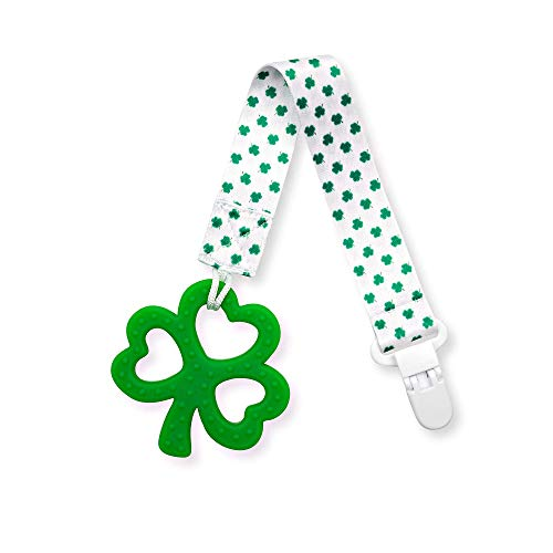 Clover Child Irish Baby Teething Toy  Shamrock Clover Teether amp Pacifier Clip Multi Textured Soft BPA Free Silicone
