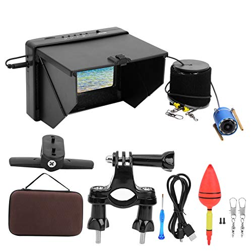 Monitor da pesca, Visiera per pesca subacquea LED non rimovibili Videocamera subacquea, Monitoraggio a colori 10 Acquacoltura Pesca oceanica per(Cable length 30 meters)