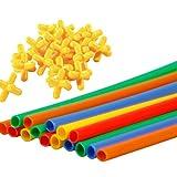 TOYANDONA 500 Pcs Paille Constructeur Jouet Construction Bâtiment Jouets Ingénierie Emboîtement Apprentissage Jouets Ensemble Kit pour Éducatif 3D Puzzle Jeux