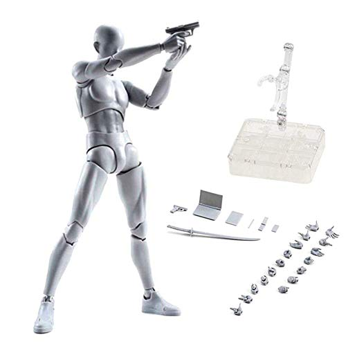 Action Figures Body-Kun DX & Body-Chan DX PVC Model SHF Children Kids Collector Toy Gift, Drawing Mannequin Figure Models for Artists (Grey Male)