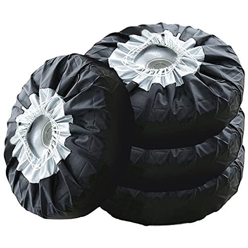 QPY Juego de 4 fundas de neumáticos para rueda de automóvil, protector de neumáticos de coche, protector impermeable para neumáticos de nieve de 13 a 19 pulgadas / 16 a 20 pulgadas