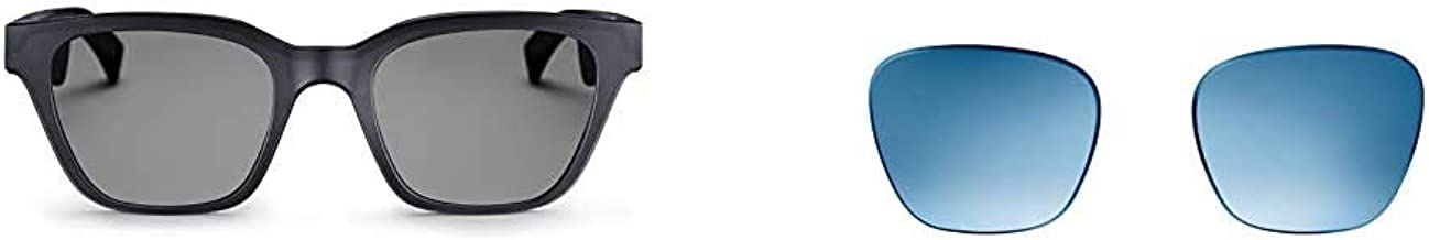 Bose Frames - Gafas de sol de audio con auriculares abiertos, color negro, con conectividad Bluetooth. Tiempo limitado sólo recibe una lente de repuesto azul degradado.
