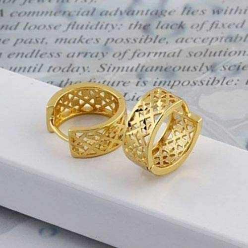 Pretty New 18k Yellow Gold Filled Cutout Carved 146mm / 1/2'' Mini Hoop Earrings