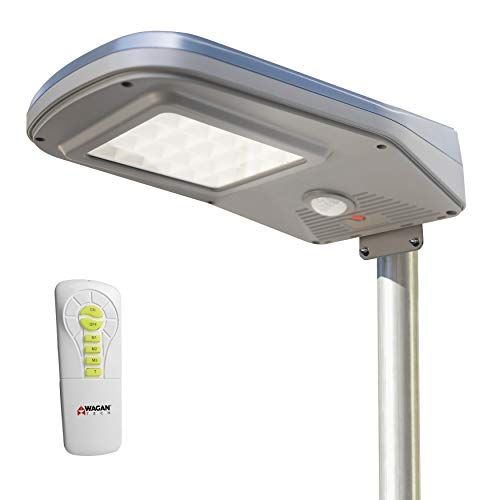 Wagan EL8590 2000 Lumens Outdoor LED Solar Street Waterproof Motion Detected Area Light with Remote Control, Silver