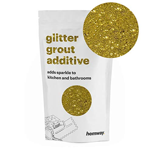 Hemway (Gold) Glitter Grout Tile Additive 100g for Tiles Bathroom Wet Room Kitchen   Easy to use - Add/Mix with Epoxy Resin or Cement Based Grout   Temperature Resistant