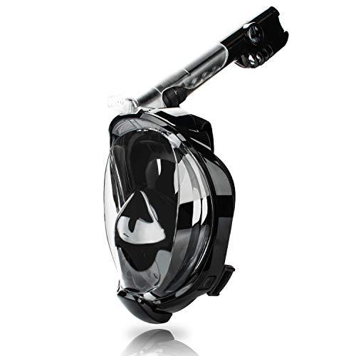 wolketon Schnorchelmaske Vollmaske Tauchermaske mit 180° Sichtfeld, Faltbare Vollgesichtsmaske mit Kamerahaltung, Anti-Fog Anti-Leck, Müheloses Atmen, für Erwachsene