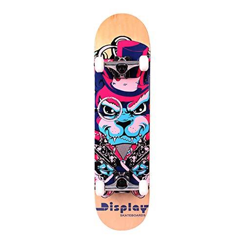 JTYX Kids Skateboard, 31 Inch Double Kick Skateboard for Beginners with Maple Deck Longboard for Boys Girls