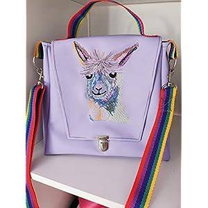 Ausgefallene Damen-Handtasche/Umhänge-Tasche mit Griff – Lama ohne Drama Flieder