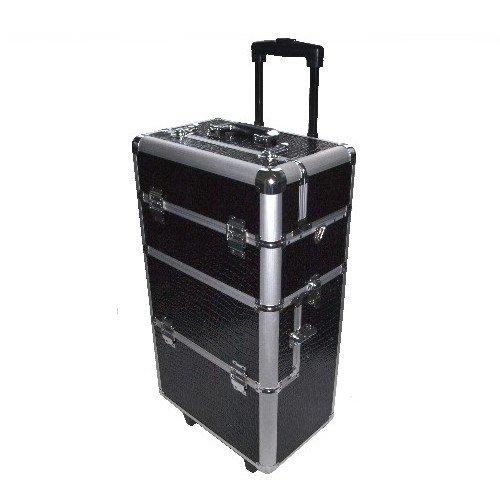 N & BF professionele cosmeticatrolley grote | Beautycase Black Croco | robuuste nagelkoffer van aluminium | veel opbergruimte | opklapbare vakken verdeeld over meerdere verdiepingen | gemakkelijk te onderhouden