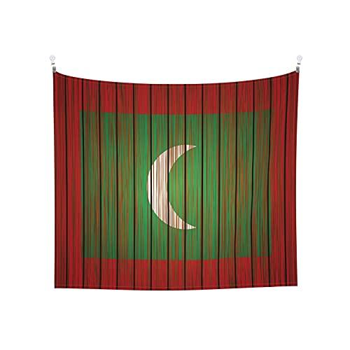 Grunge Malediven Flagge, Tapisserie, Wandbehang, Boho, beliebt, mystisch, Trippy, Yoga, Hippie, Wandteppiche für Wohnzimmer, Schlafzimmer, Schlafsaal, Heimdekoration, schwarz & weiß Stranddecke