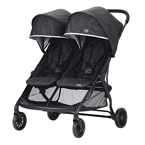 Evenflo Aero2 Ultra-Lightweight Double Strollers, Compact, Self-Standing Folding Design, Shopping Basket Single-Child Mode, Seatback Storage Pocket, 2 Mesh In-Seat Pockets, 50-lb Per Seat, Osprey Gray