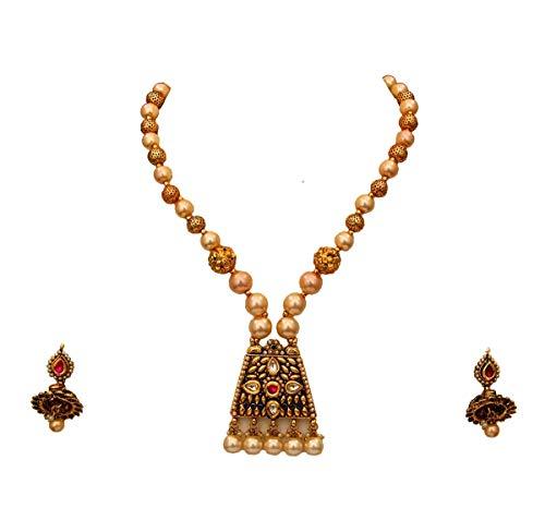 JewelryGift Juego de collar de perlas hechas a mano con pendientes Jhumki chapados en oro de 18 quilates con cristal adornado étnico indio rico joyería de diseñador para esposa y hermana