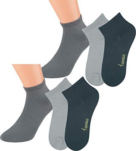 Vitasox Calcetines cortos de bambú 43019, calcetines tobilleros unicolor, calcetines cortos, quarter, de señora y caballero, sin costura, lote de 6, tonos plata, 43/46