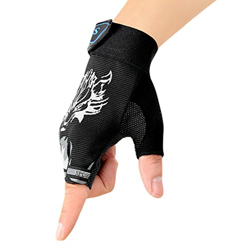 FakeFace Neu Kinder Fingerhandschuhe Fahrradhandschuhe Sporthandschuhe Halbfinger Handschuhe Fingerlos Radfahren Handschuhe für Camping Sport Outdoor